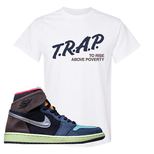 Air Jordan 1 Retro High OG 'Bio Hack' T Shirt | White, Trap To Rise Above Poverty