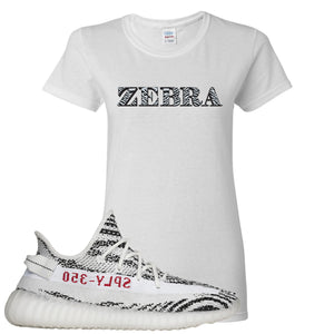 Yeezy Boost 350 V2 Zebra Zebra White Sneaker Hook Up Women's T-Shirt
