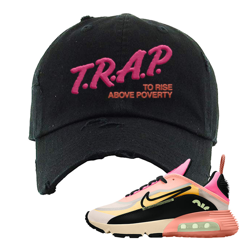 Air Max 2090 WMNS Neon Highlighter Distressed Dad Hat | Black, Trap To Rise Above Poverty