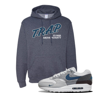 Air Max 1 'London City Pack' Sneaker Vintage Heather Navy Pullover Hoodie | Hoodie to match Nike Air Max 1 'London City Pack' Shoes | Trap to Rise Above Poverty