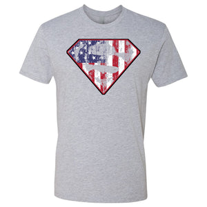 Standard Issue Diamond S Logo American Flag Distressed Light Gray Grunt Life T-Shirt