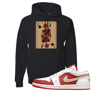Air Jordan 1 Low Spades Hoodie | Bone Cards, Black
