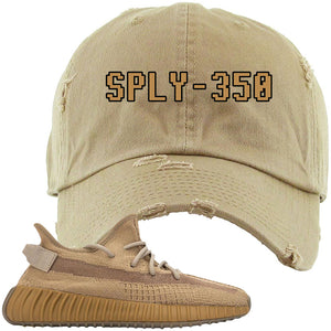 Yeezy Boost 350 V2 Earth Sneaker Distressed Dad Hat To Match | SPLY-350, Khaki