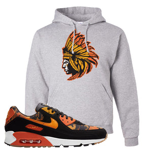 Air Max 90 Orange Camo Hoodie | Indian Chief, Ash