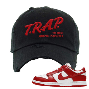 SB Dunk Low St. Johns Distressed Dad Hat | Trap To Rise Above Poverty, Black