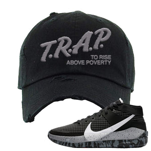 KD 13 Oreo Distressed Dad Hat | Trap To Rise Above Poverty, Black