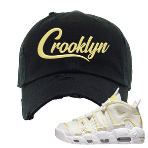 Air More Uptempo Light Citron Distressed Dad Hat | Crooklyn, Black