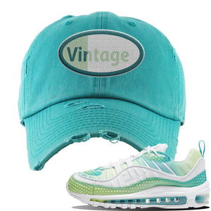 WMNS Air Max 98 Bubble Pack Sneaker Turquoise Distressed Dad Hat | Hat to match Nike WMNS Air Max 98 Bubble Pack Shoes | Vintage Oval