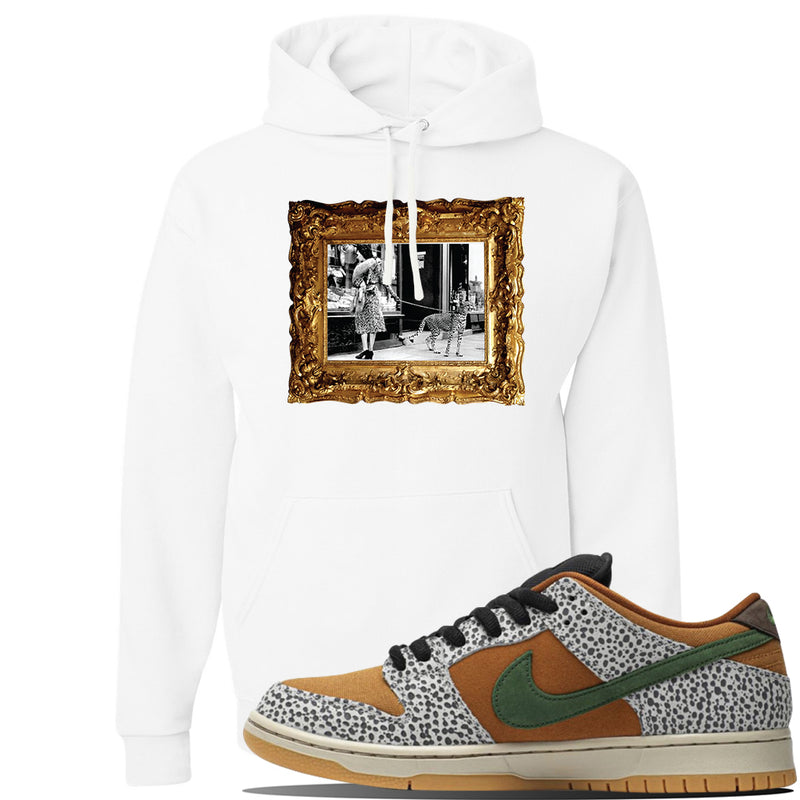 SB Dunk Low Safari Sneaker White Pullover Hoodie | Hoodie to match Nike SB Dunk Low Safari Shoes | Pet Cheetah