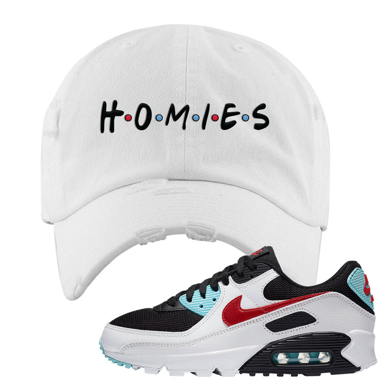 Air Max 90 Bleached Aqua and Chile Red Distressed Dad Hat | White, Homies