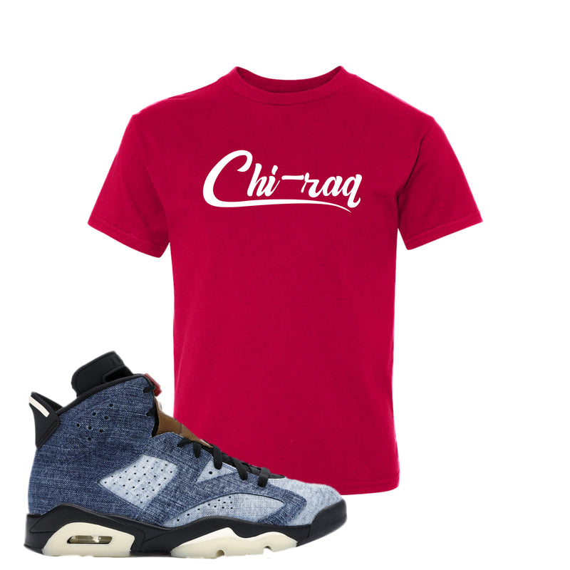 Jordan 6 Washed Denim Kid's T Shirt | Deep Red, Chiraq