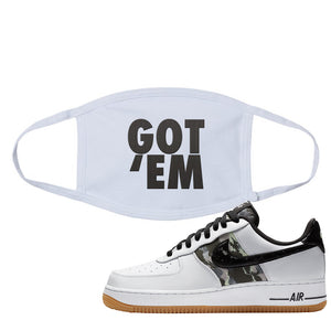 Air Force 1 Low Camo Face Mask | Got Em, White