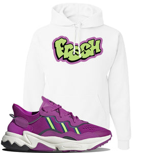 Ozweego Vivid Pink Sneaker White Pullover Hoodie | Hoodie to match Adidas Ozweego Vivid Pink Shoes | Fresh Princess of Bel Air
