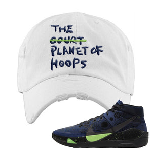 KD 13 Planet of Hoops Distressed Dad Hat | Planet Of Hoops Lettering, White
