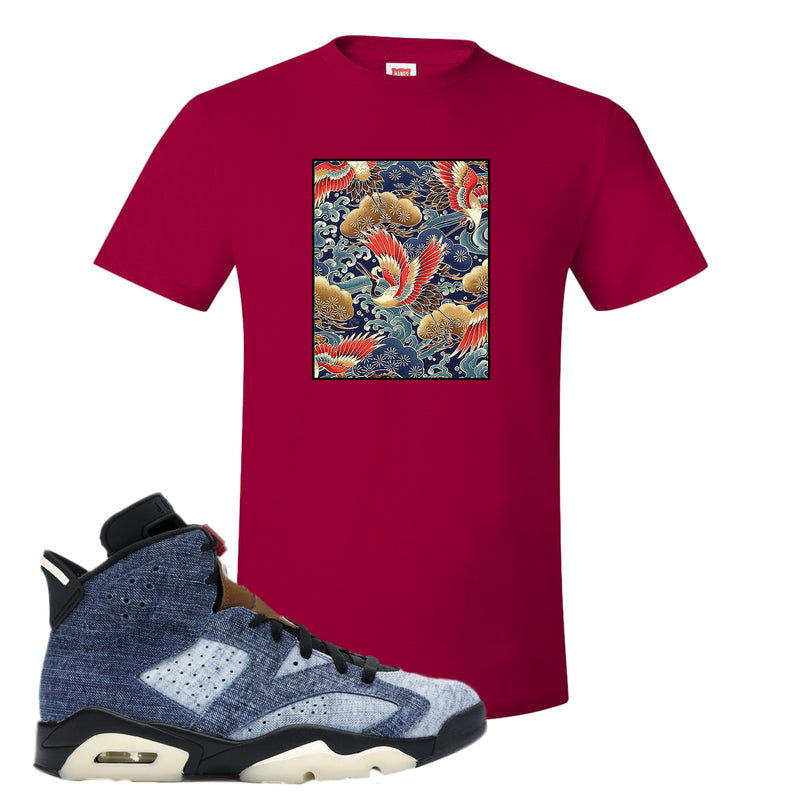 Jordan 6 Washed Denim T Shirt | Deep Red, Crane Over Water