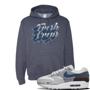 Air Max 1 'London City Pack' Sneaker Vintage Heather Navy Pullover Hoodie | Hoodie to match Nike Air Max 1 'London City Pack' Shoes | Fresh Creps Only