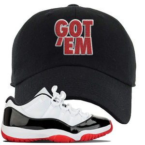 Jordan 11 Low White Black Red Sneaker Black Dad Hat | Hat to match Nike Air Jordan 11 Low White Black Red Shoes | Got Em