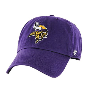 Embroidered on the front of the Minnesota Vikings purple dad hat is the Minnesota Vikings logo in yellow, tan, white, and black