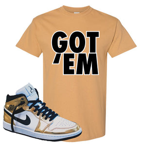 Air Jordan 1 Mid SE Metallic Gold T Shirt | Got Em, Old Gold