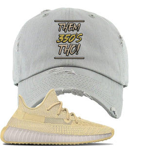 Yeezy Boost 350 V2 Flax Sneaker Light Gray Distressed Dad Hat | Hat to match Adidas Yeezy Boost 350 V2 Flax Shoes | Them 350's Tho