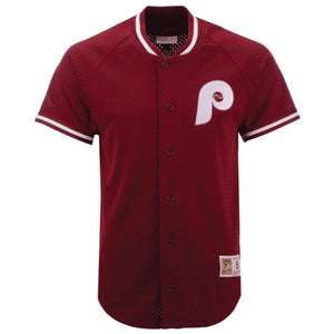 Philadelphia Phillies Throwback Cooperstown Mesh Button Front Jersey