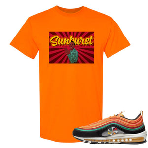 Printed on the front of the Air Max 97 Sunburst sneaker matching safety orange tee shirt is the Harry Belafonte sunburst logo