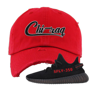 Yeezy 350 Boost V2 Bred Distressed Dad Hat | Chiraq, Red