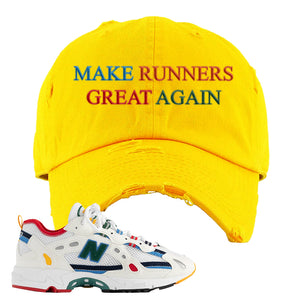 Aime Leon Dore X New Balance 827 Abzorb Multicolor 'White' Distressed Dad Hat | Gold, Make Runners Great Again Basic