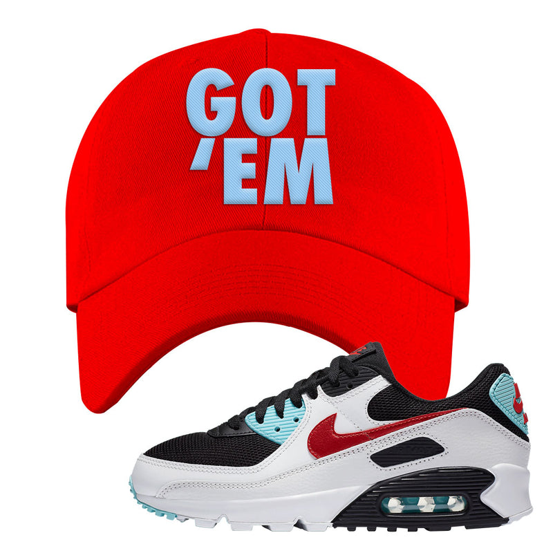 Air Max 90 Bleached Aqua and Chile Red Dad Hat | Red, Got Em