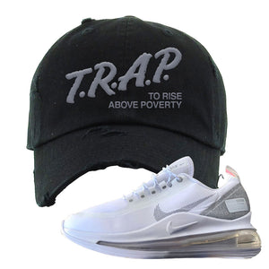 Air Max 720 Utility White Distressed Dad Hat | Black, Trap To Rise Above Poverty