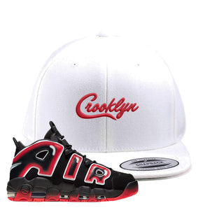 Air More Uptempo Laser Crimson Snapback Hat | White, Crooklyn