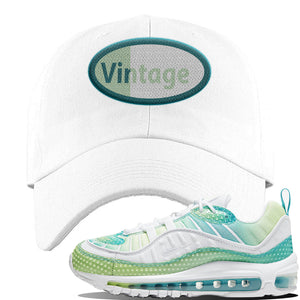 WMNS Air Max 98 Bubble Pack Sneaker White Dad Hat | Hat to match Nike WMNS Air Max 98 Bubble Pack Shoes | Vintage Oval
