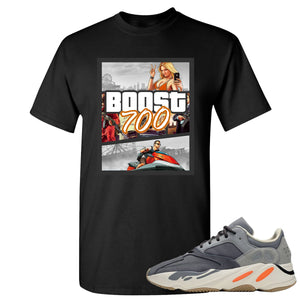 Yeezy Boost 700 Magnet GTA Cover Black Sneaker Matching Tee Shirt