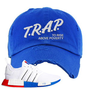 NMD R1 Seoul Distressed Dad Hat | Royal, Trap To Rise Above Poverty