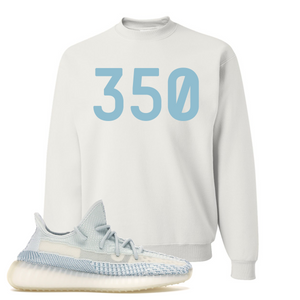 Yeezy Boost 350 V2 Cloud White Non-Reflective 350 Sneaker Matching White Crewneck Sweatshirt