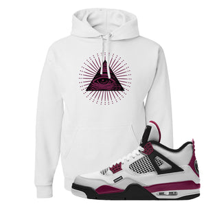 Air Jordan 4 PSG Paname Pullover Hoodie | All Seeing Eye, White