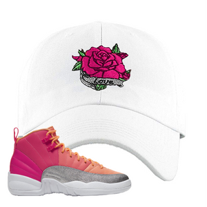 Air Jordan 12 GS Hot Punch Dad Hat | Rose Love, White