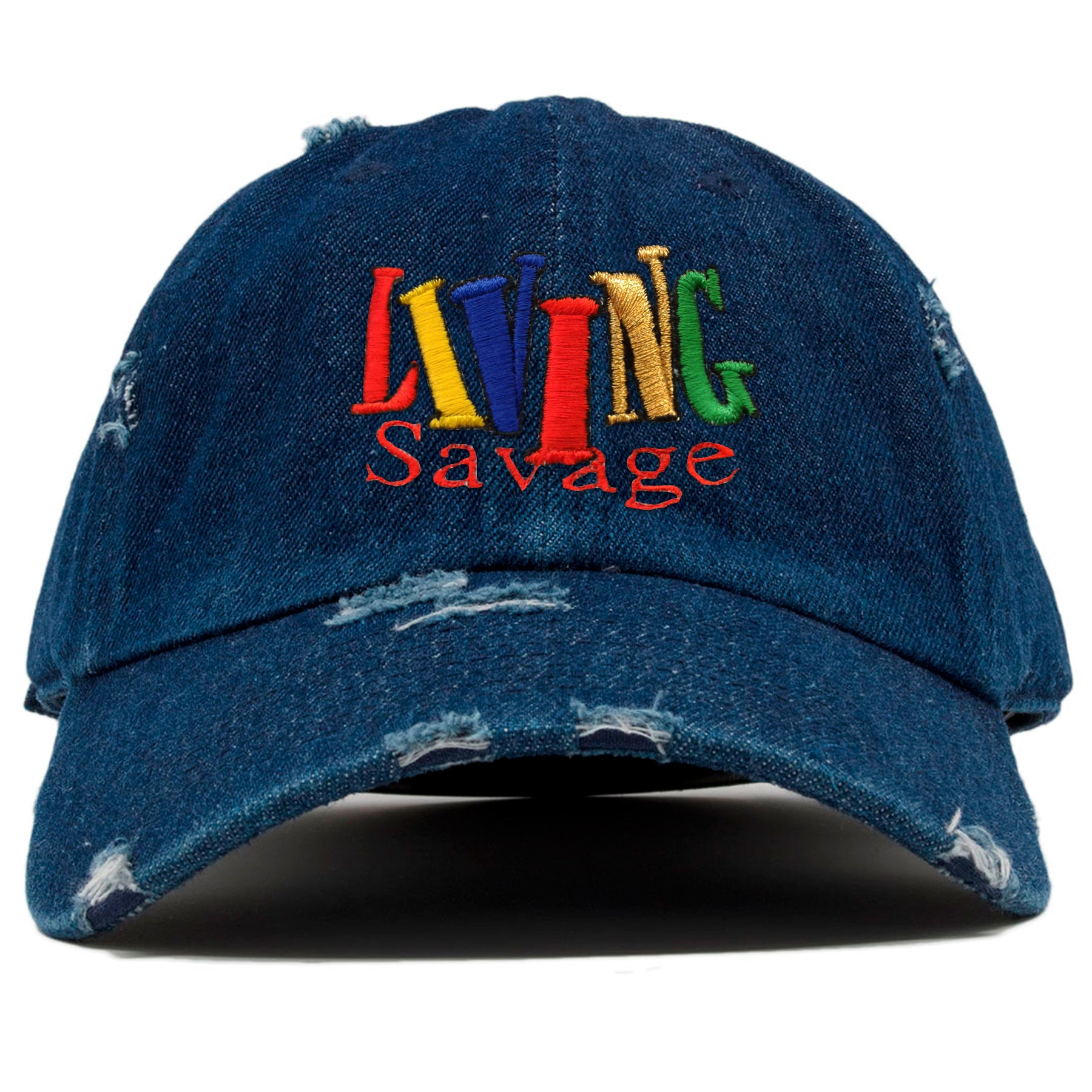 704902f1 the front of the living savage dad hat has the living savage logo  embroidered