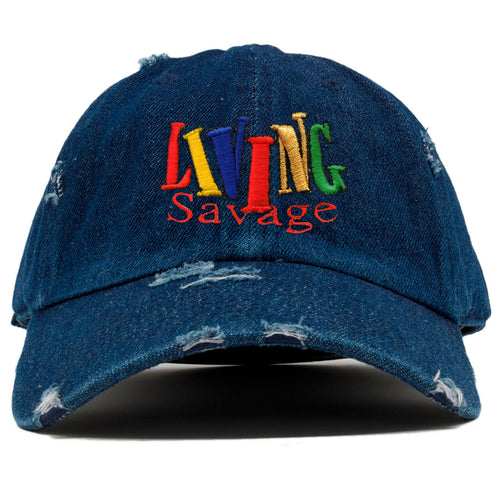 the front of the living savage dad hat has the living savage logo embroidered