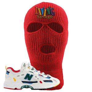 827 Abzorb Multicolor White Aime Leon Dore Sneaker Red Ski Mask | Winter Mask to match 827 Abzorb Multicolor White Aime Leon Dore Shoes | Living Savage