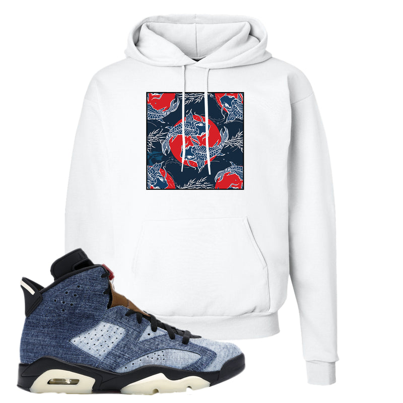 Jordan 6 Washed Denim Hoodie | White, Carp Pattern
