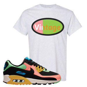 Furry Air Max 90 Bright Neon T Shirt | Vintage Oval, Ash