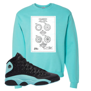 Diamond Patent Scuba Blue Crewneck Sweatshirt To Match Jordan 13 Island Green Sneakers