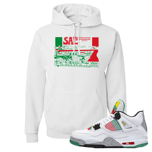 Jordan 4 WMNS Carnival Sneaker White Pullover Hoodie | Hoodie to match Do The Right Thing 4s | Sal's Pizza Box