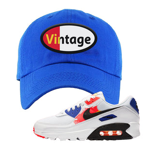 Air Max 90 Paint Streaks  Dad Hat | Vintage Oval, Royal Blue