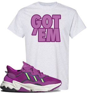 Ozweego Vivid Pink Sneaker Ash T Shirt | Tees to match Adidas Ozweego Vivid Pink Shoes | Got Em