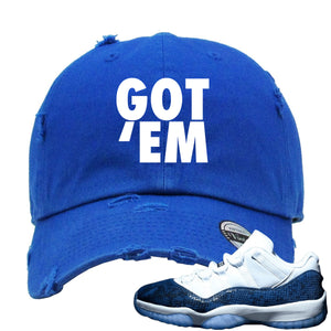 "Jordan 11 Low Blue Snakeskin ""Snake"" in Japanese Navy Blue Dad Hat"