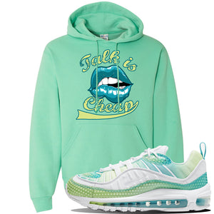 WMNS Air Max 98 Bubble Pack Sneaker Cool Mint Pullover Hoodie | Hoodie to match Nike WMNS Air Max 98 Bubble Pack Shoes | Talk is Cheap