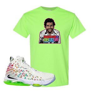 Lebron 17 Air Command Force T Shirt | Neon Green, Escobar Illustration