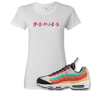 Air Max 95 Black History Month Sneaker White Women's T Shirt | Women's Tees to match Nike Air Max 95 Black History Month Shoes | Homies